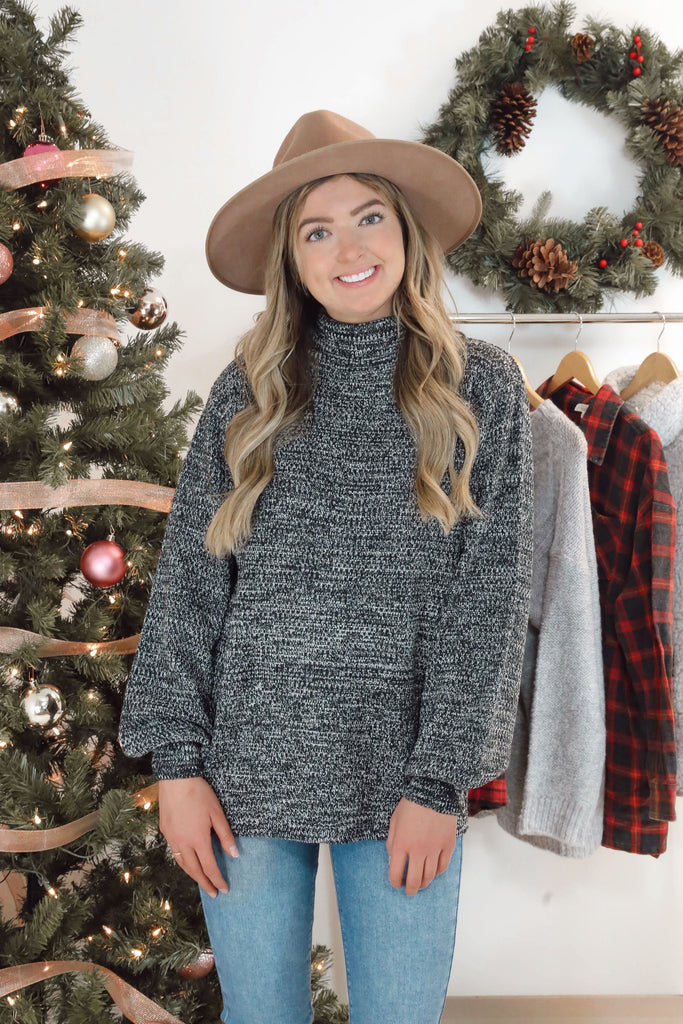 Coffee Date Turtleneck - Charcoal