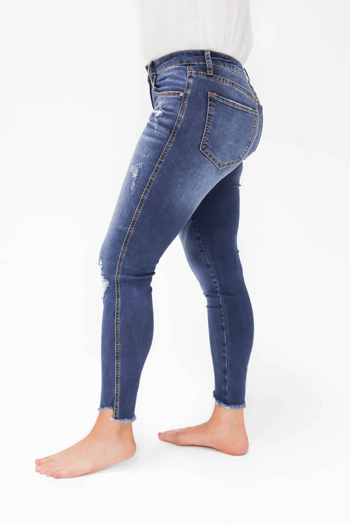 Come On By Medium Wash Distressed Hem Jeans