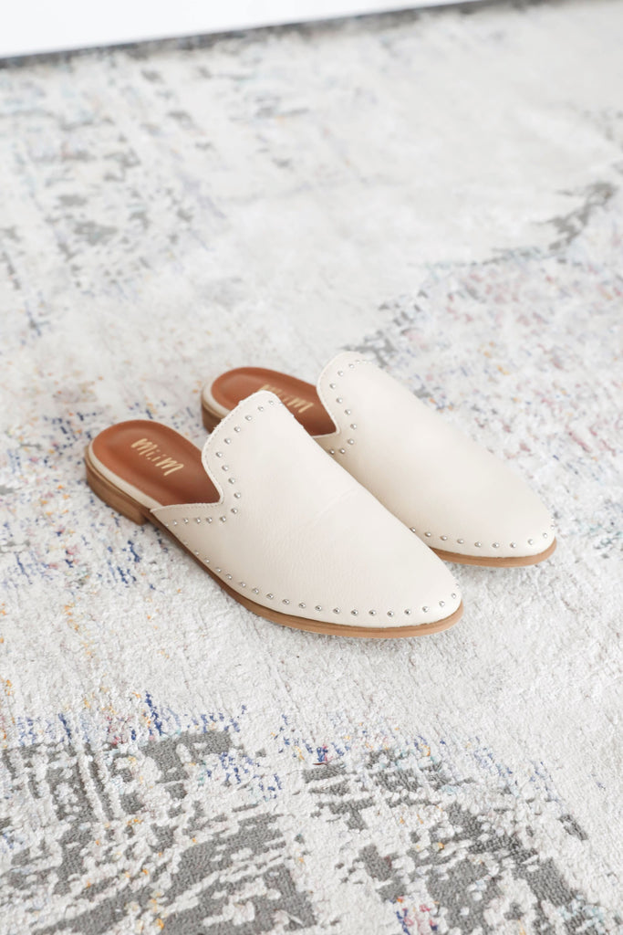 Come on By Slip On Cream Mules