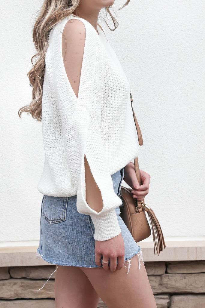 Confident Cold Shoulder Sweater - White
