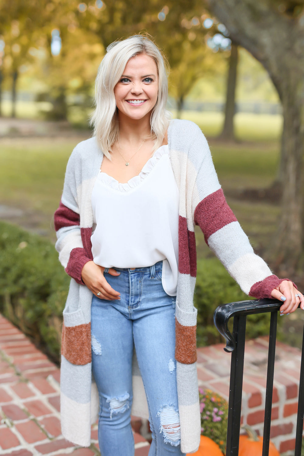 "Cooler Days Color Block Cardigan ""Inspired by Shanna Hutcheson"""