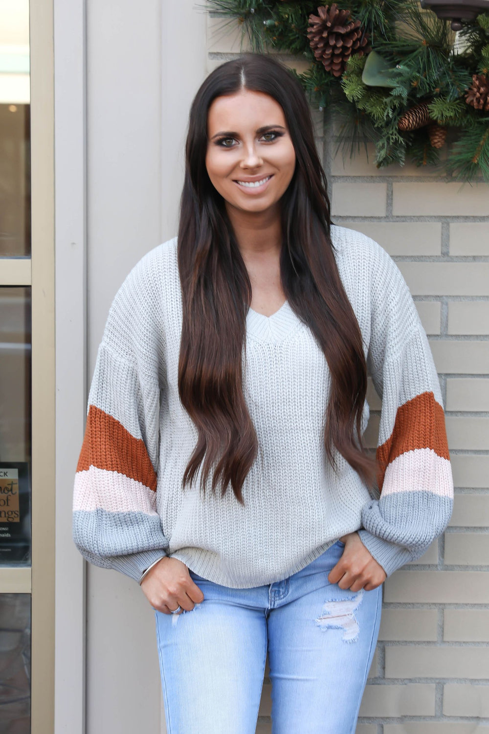 Crazy for You Chunky Color Block Sleeve Sweater