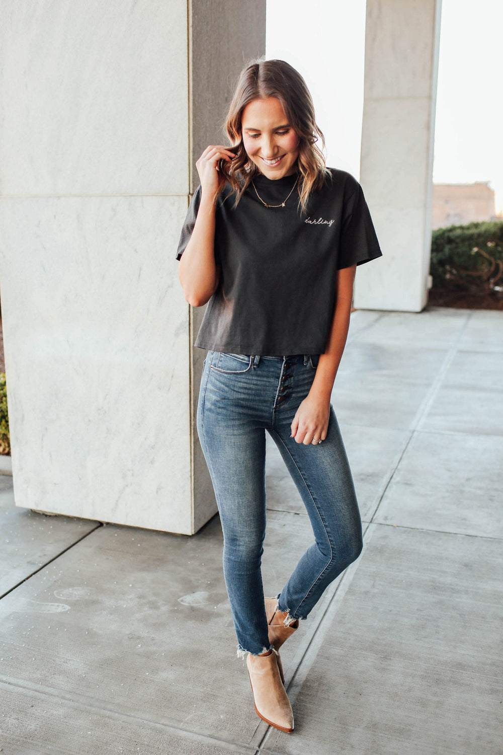 DARLING Embroidered Tee Inspired By Ashley from Twenties Girl Style