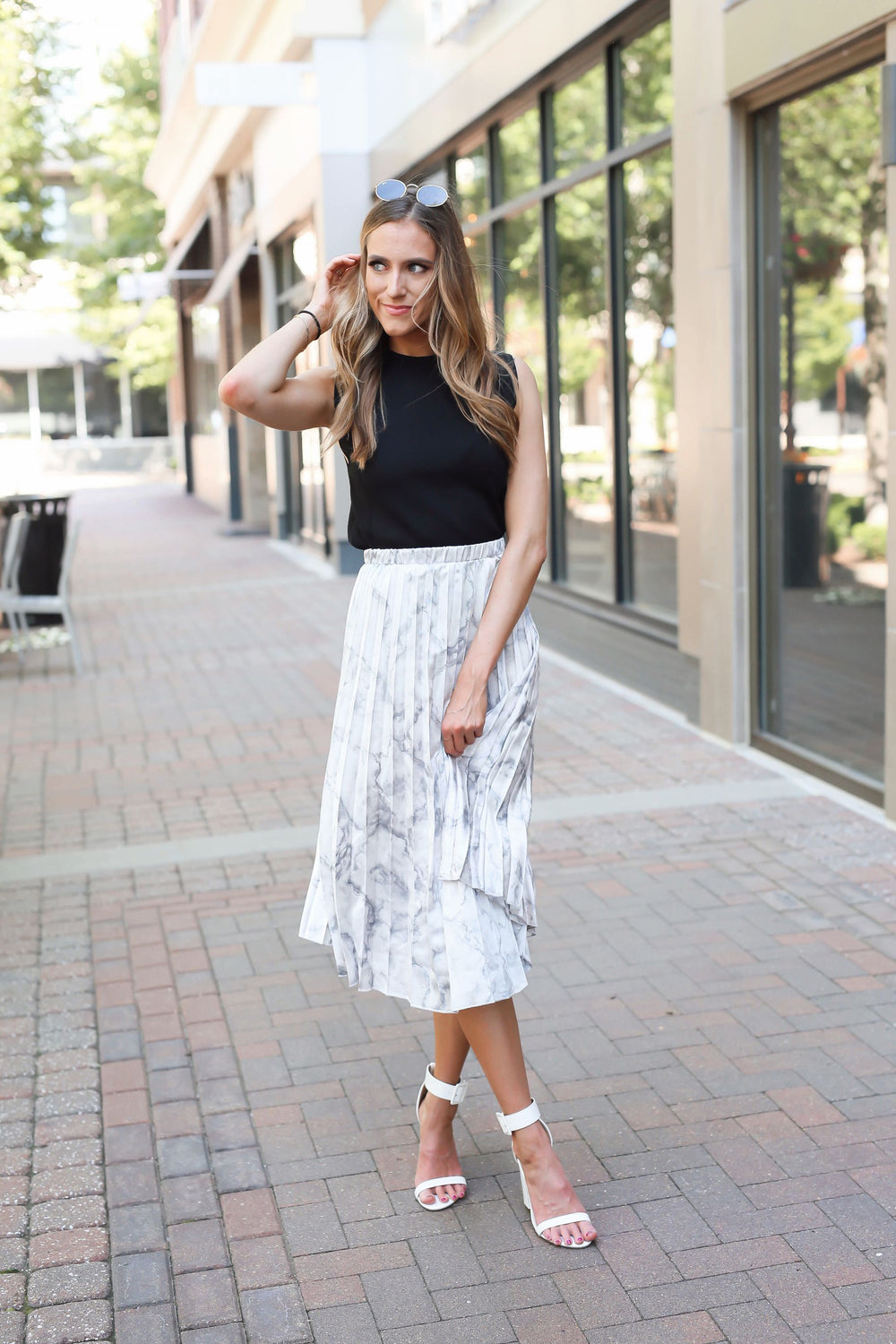 Day Party Pleated Satin Snake Midi Skirt