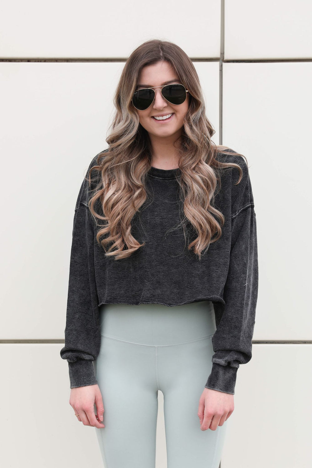 Distressed Cropped Sweatshirt - Charcoal