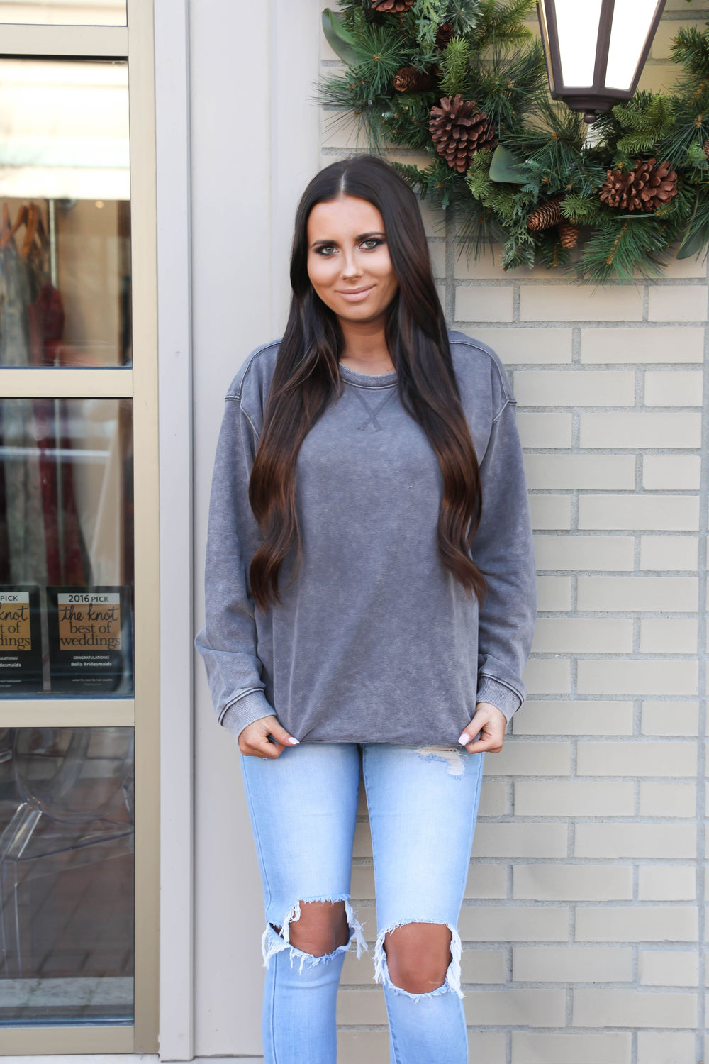 Distressed Charcoal Crewneck Sweatshirt