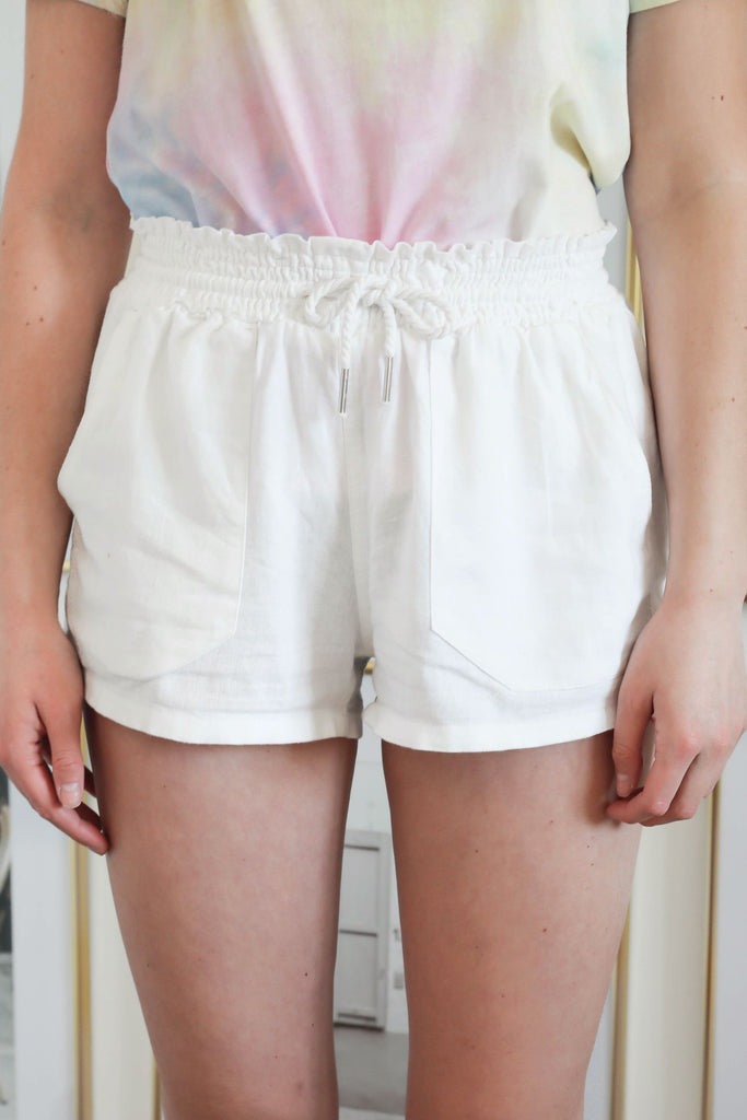 Drawstring Lounge shorts - White