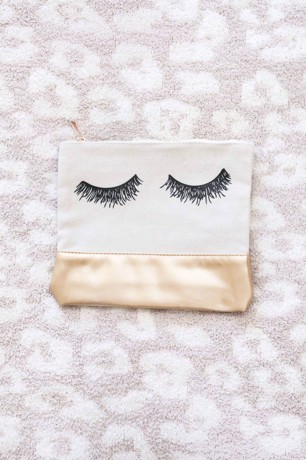 Eyelash Gold Faux Leather Makeup Bag