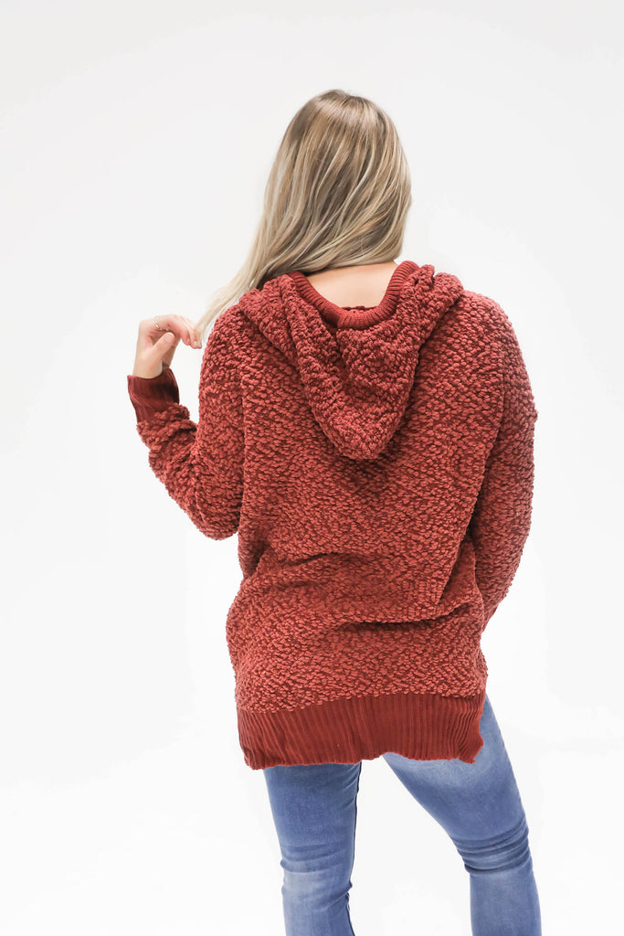 Fall Feelin' Red Popcorn Pullover