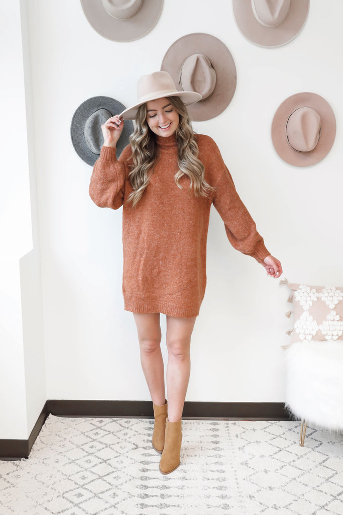 Falling for Autumn Burnt Orange Sweater Dress