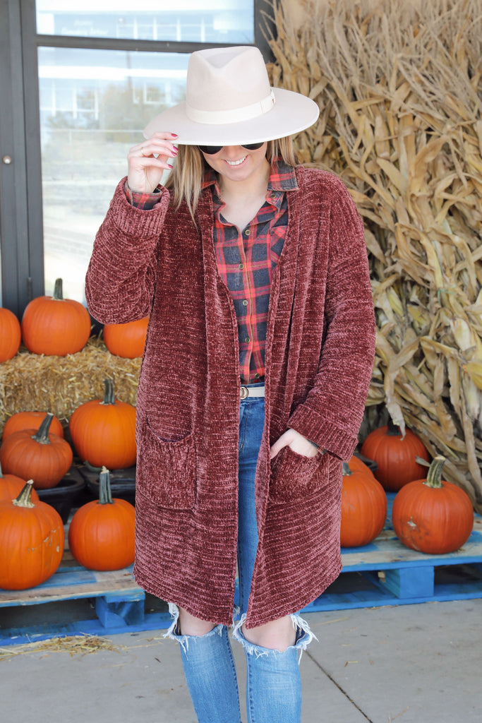 Falling in Love Chenille Cardigan Rust