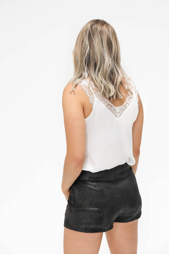 Faux Leather Snake Print Shorts