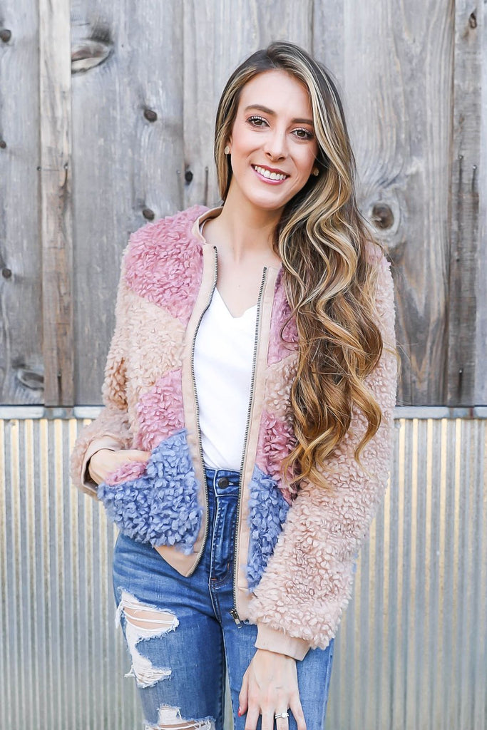 Fuzzy Color Block Jacket Inspired By Pam Carper x Kendra Scott