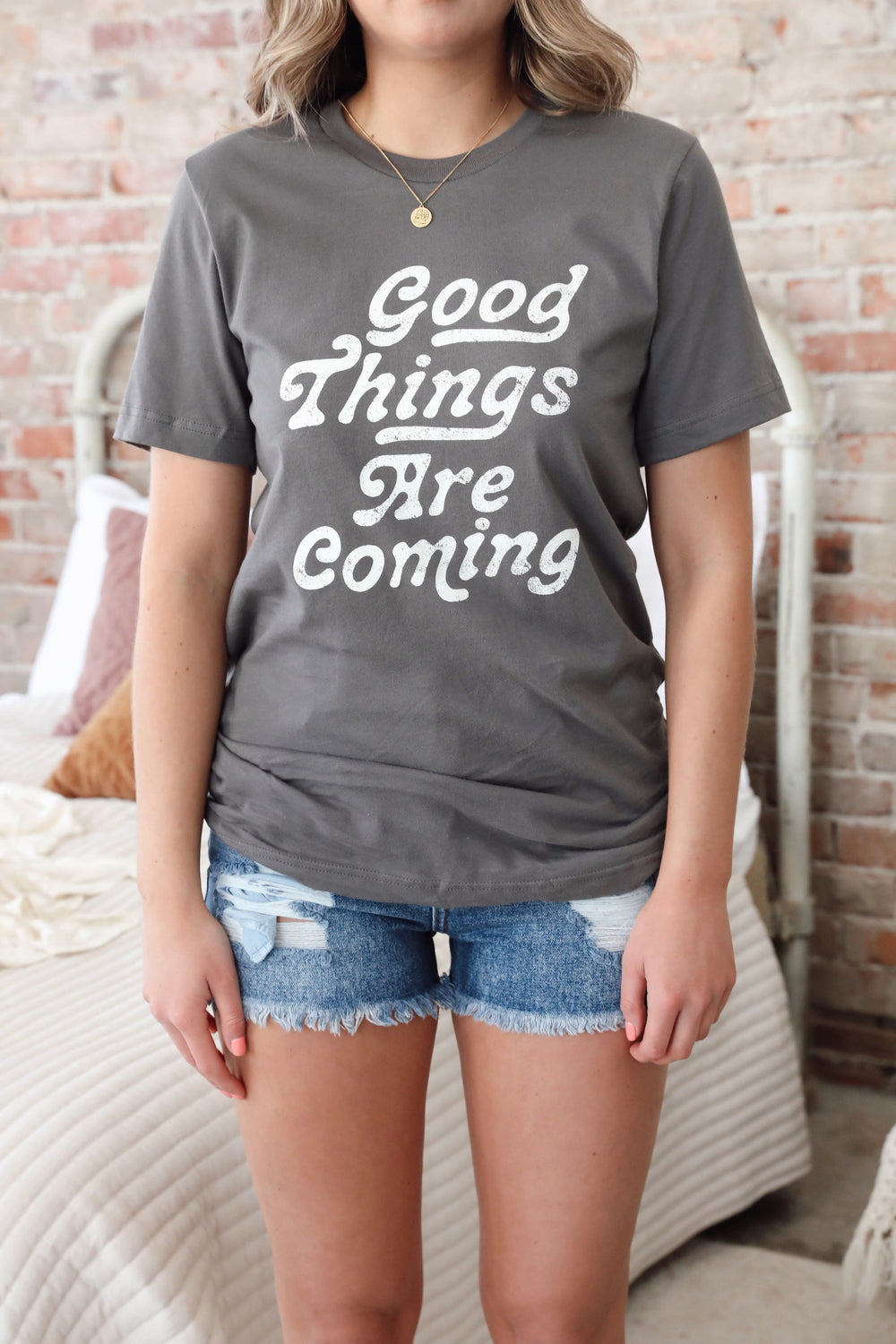 Good Things Are Coming Tee - Charcoal