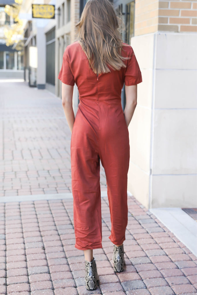 Good Vibes Rust Tied Jumpsuit