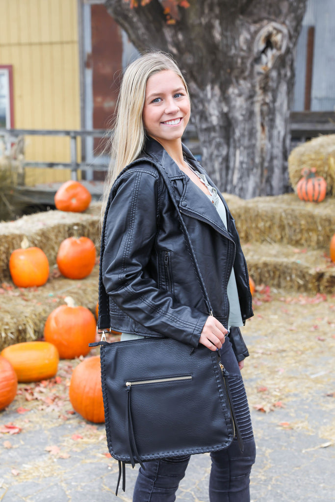 Happier Now Black Faux Leather Bag
