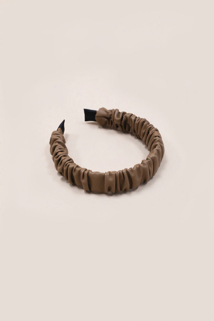 Harley Faux Leather Headband - Brown
