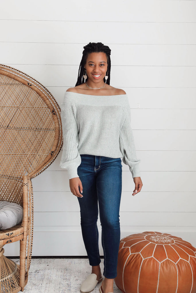 Harper Off the Shoulder Sweater - Gray
