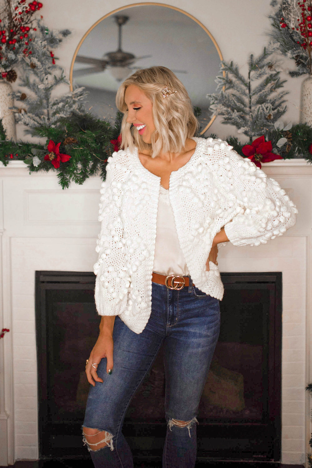 Heart on My Sleeve Pom Pom Cardigan