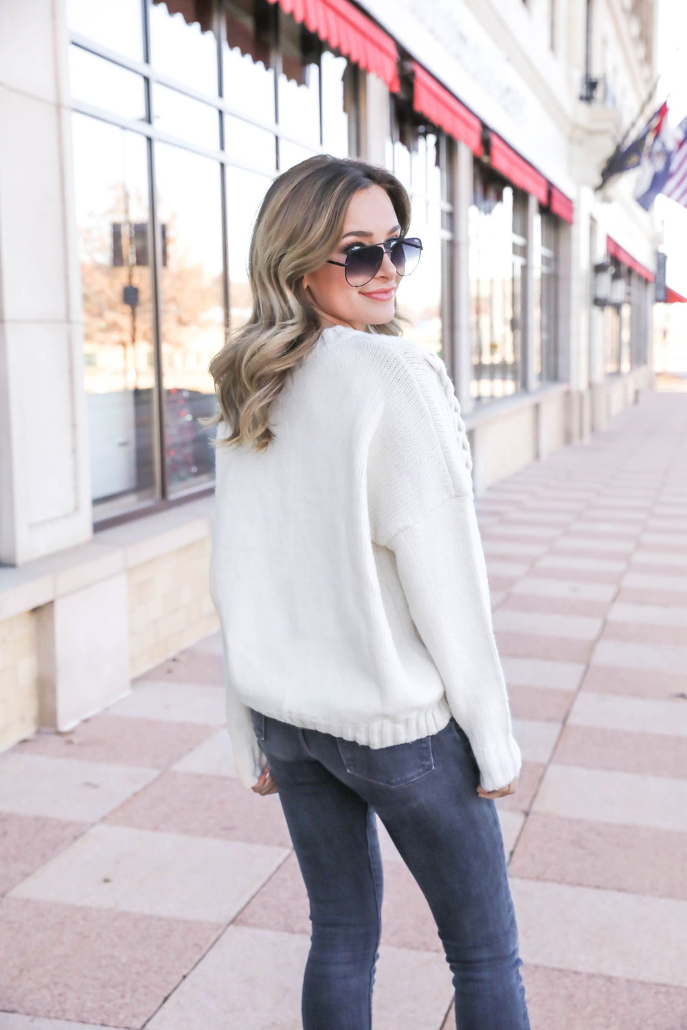Holly Pom Pom Cable Knit Sweater