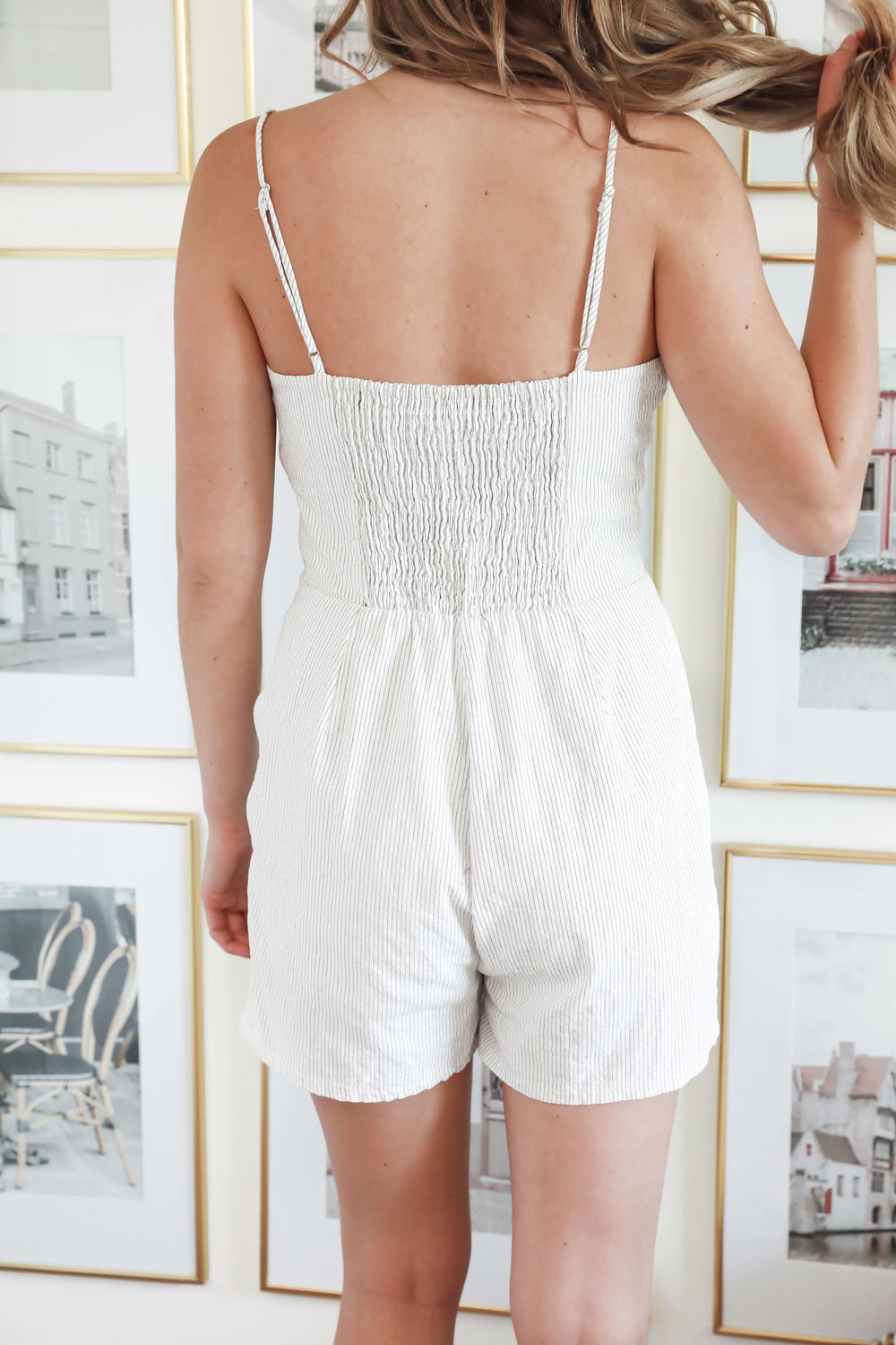 Ivory Tied Button Up Romper