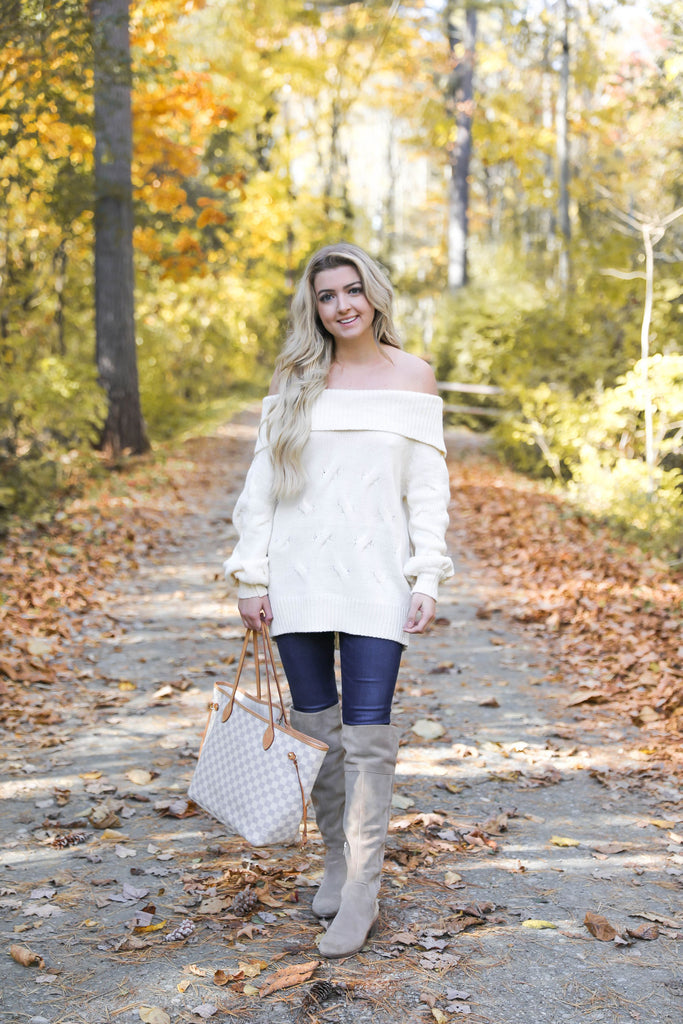 Ivory Braided Off the Shoulder Sweater