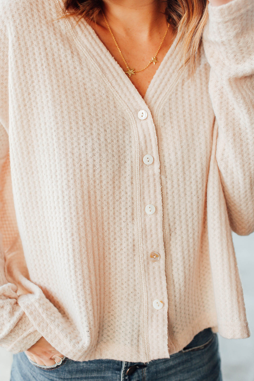 Ivory Long Sleeve Button Up Inspired By Ashley from Twenties Girl Style