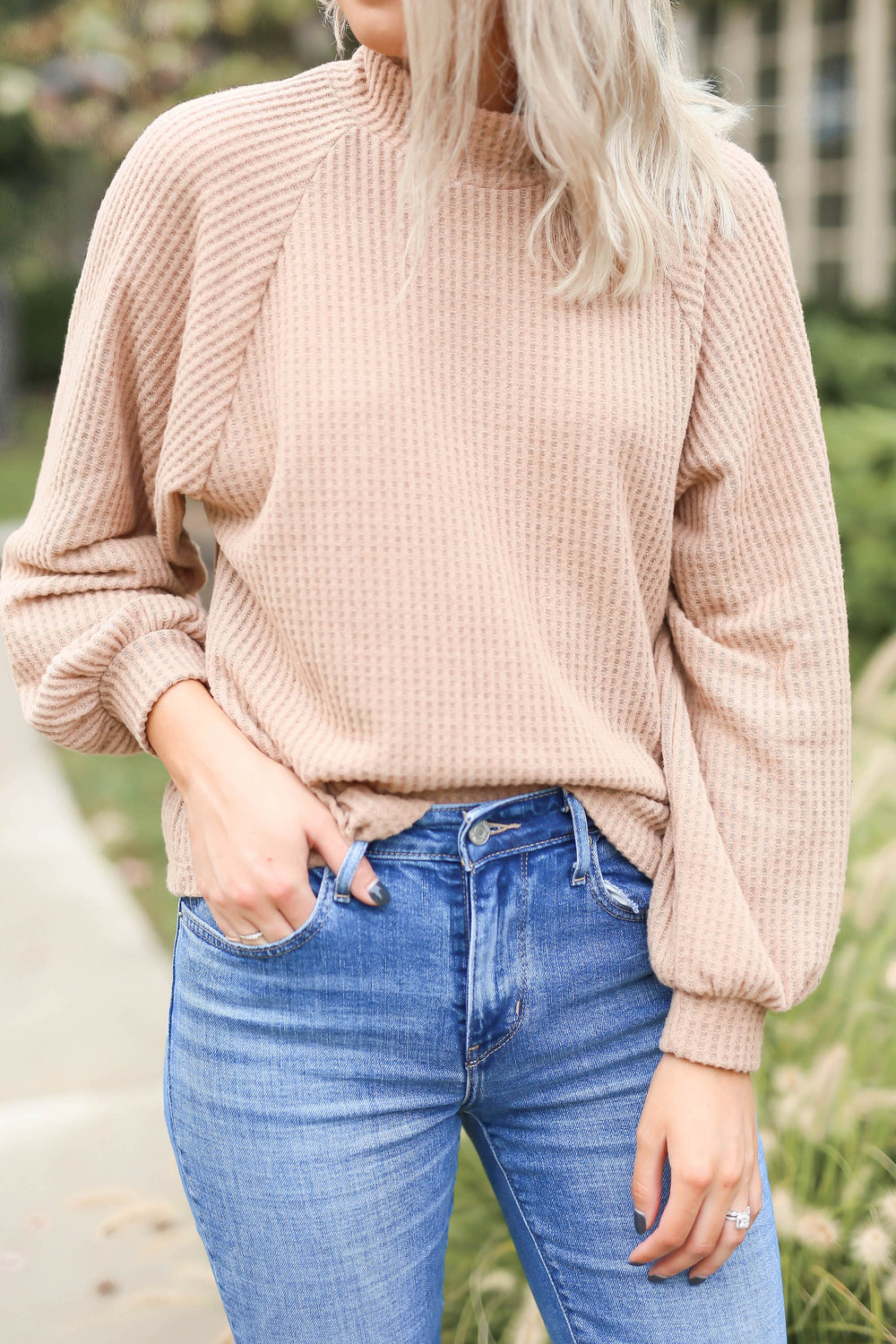 "Just Peachy Waffle Top ""Inspired by Shelby Ditch"""