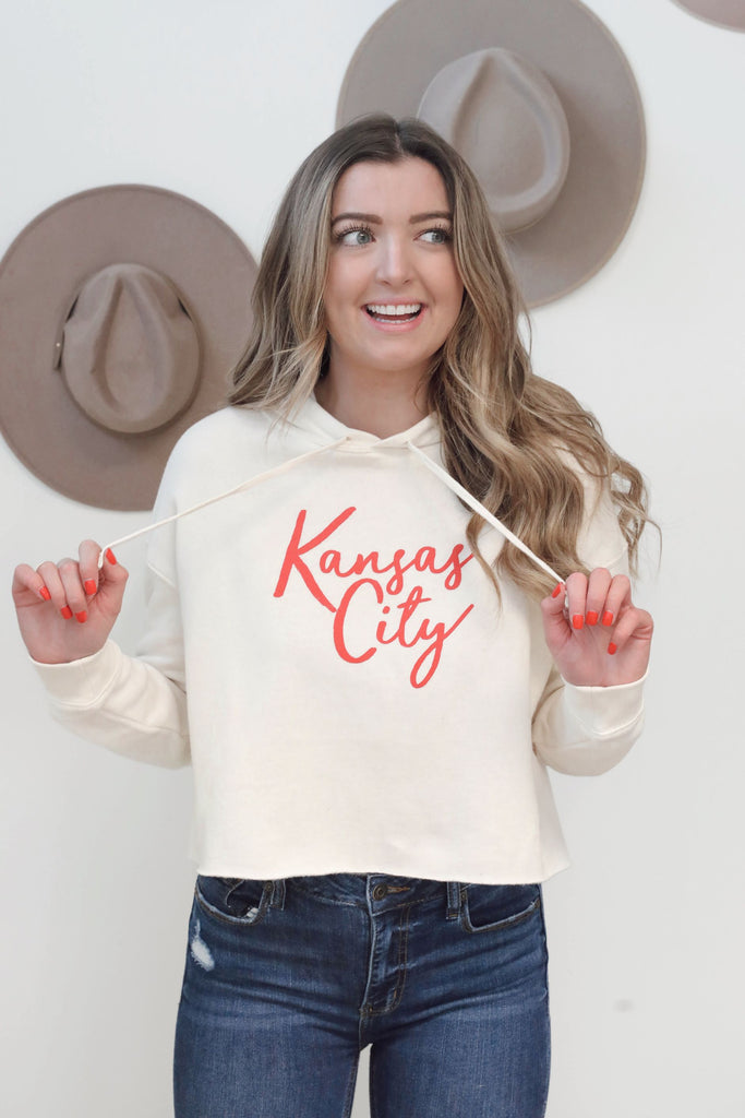 Kansas City Cropped Cream Hoodie