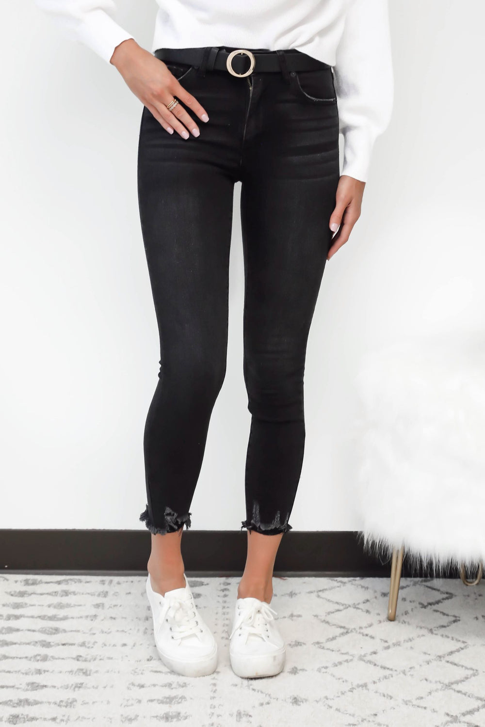 Kendall Washed Black High Waisted Jeans