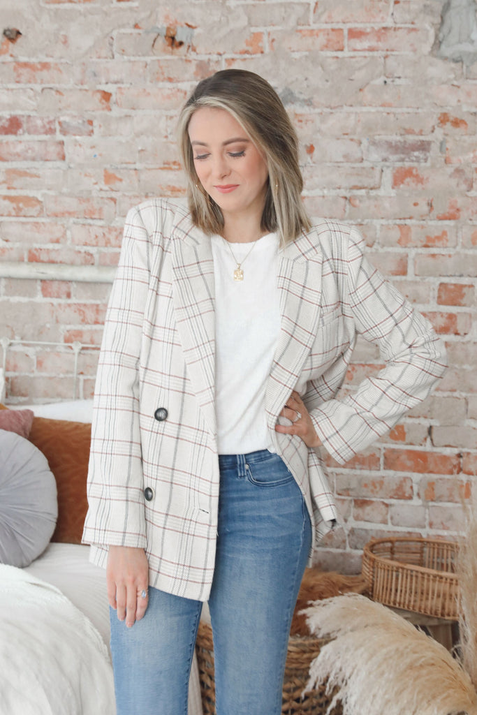 Kylie Plaid Girlboss Blazer
