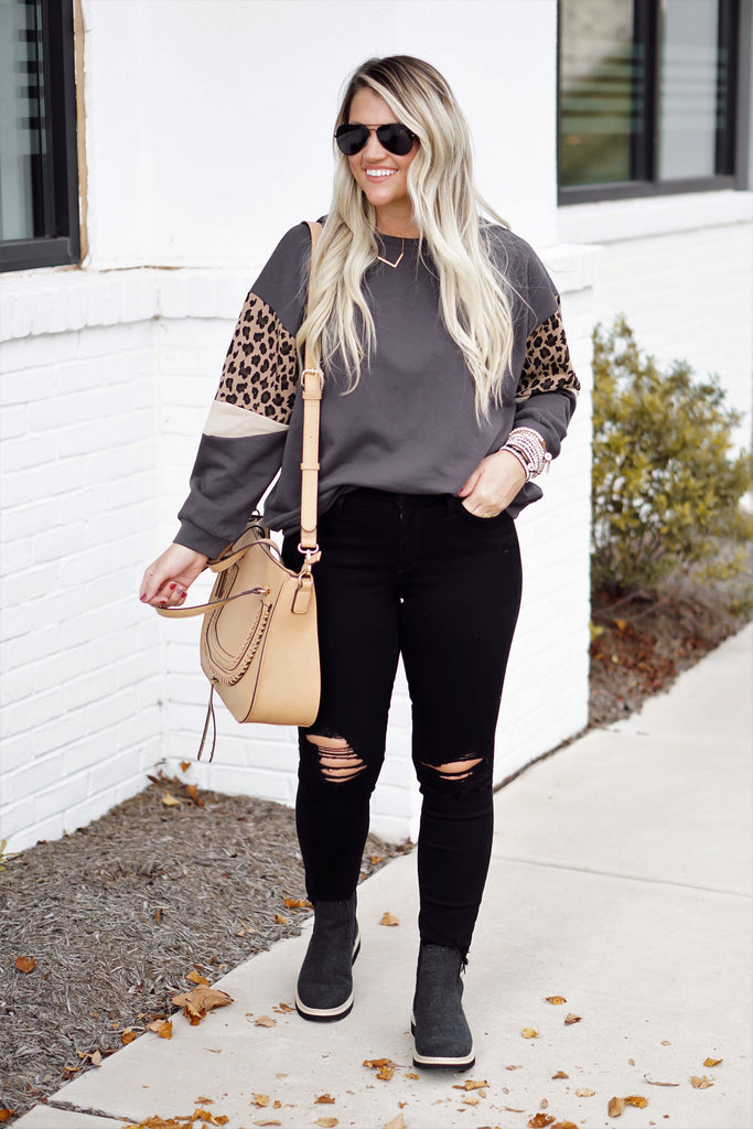 Leopard Sleeve Top Inspired by Liz from Lattes with Liz