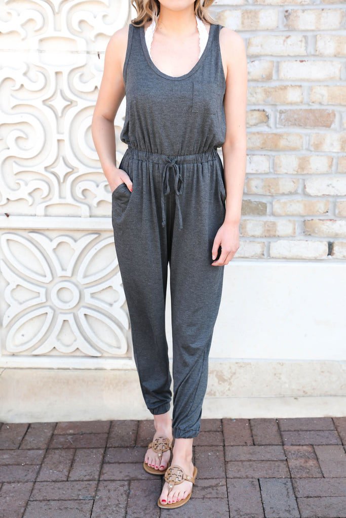 Let's Getaway Jumpsuit - Charcoal