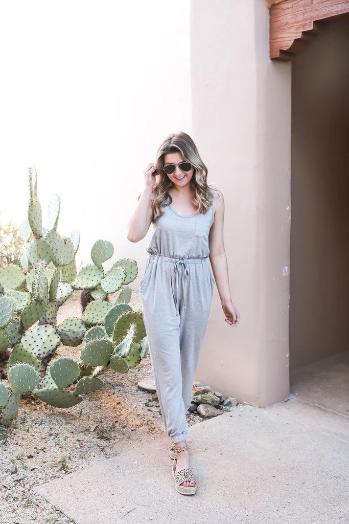 Let's Getaway Jumpsuit - Heather Grey