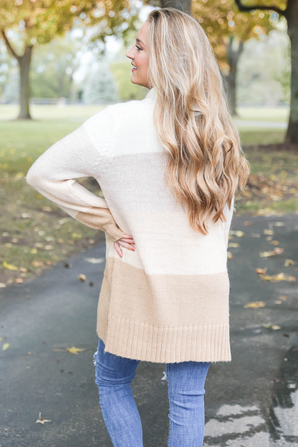 "Light Color Block Cardigan ""Inspired by Hannah Vance"""