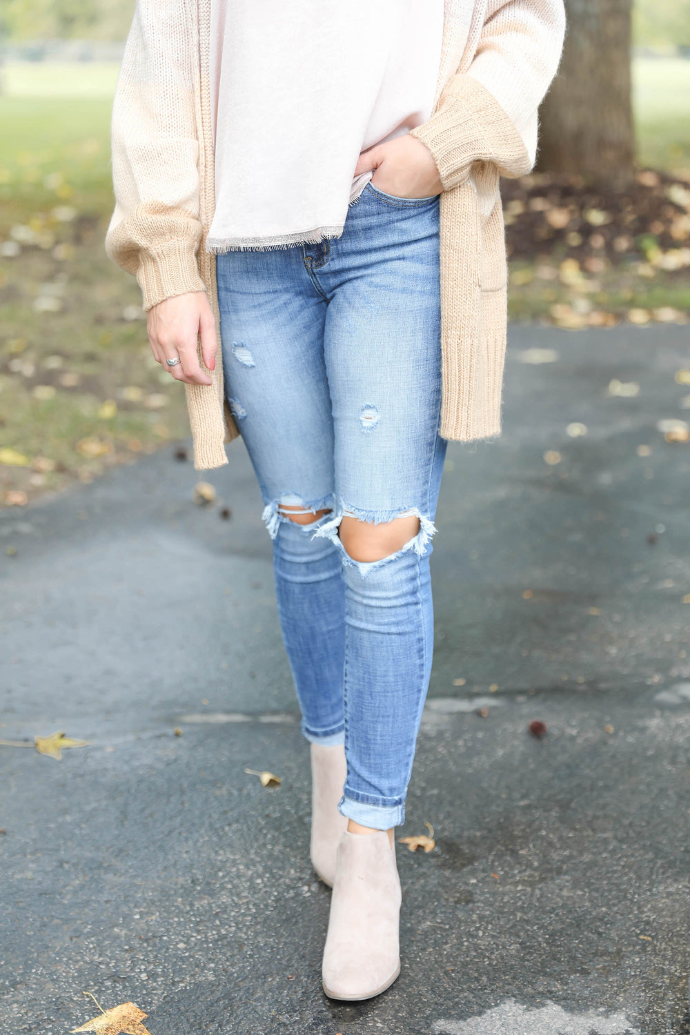 "Light to Mid Wash Distressed Jeans ""Inspired by Hannah Vance"""