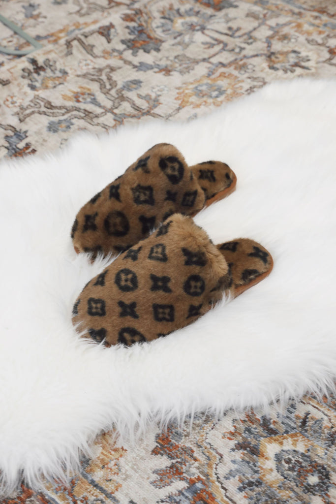 Luxe Print Slippers - Tan