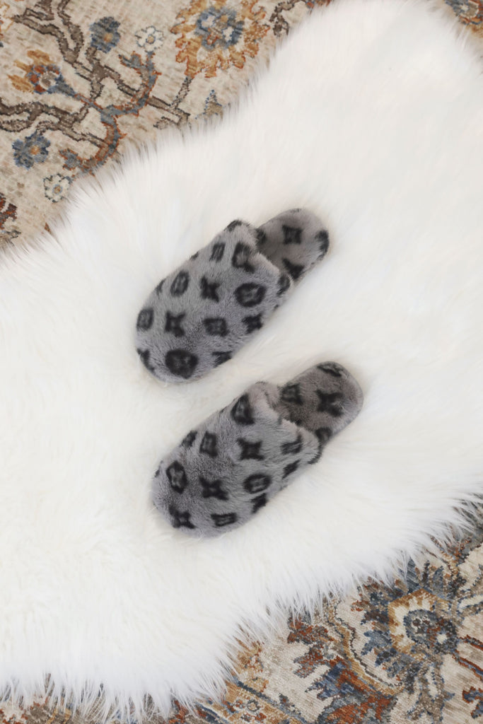 Luxe Print Slippers - Grey
