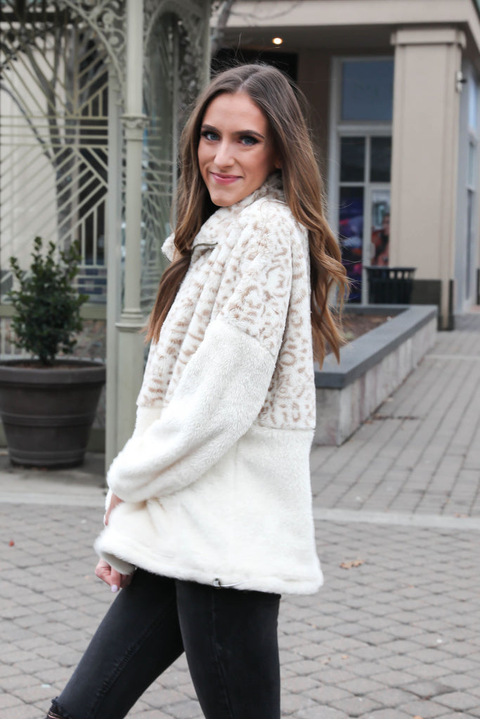 Make Me Wild Ivory Snow Leopard Pullover
