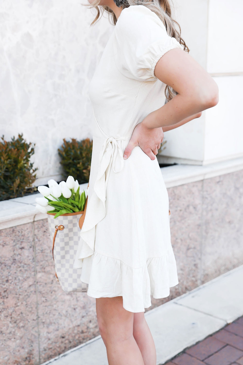 Make it Happen Ivory Wrap Dress