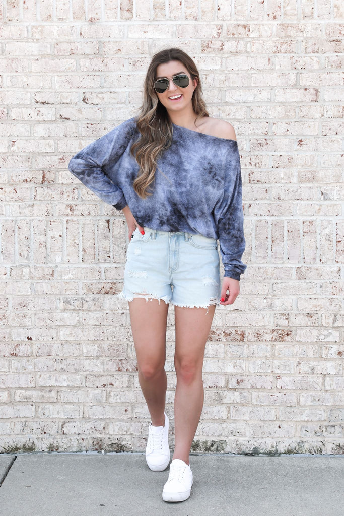 Making Waves Off the Shoulder Tie Dye Top