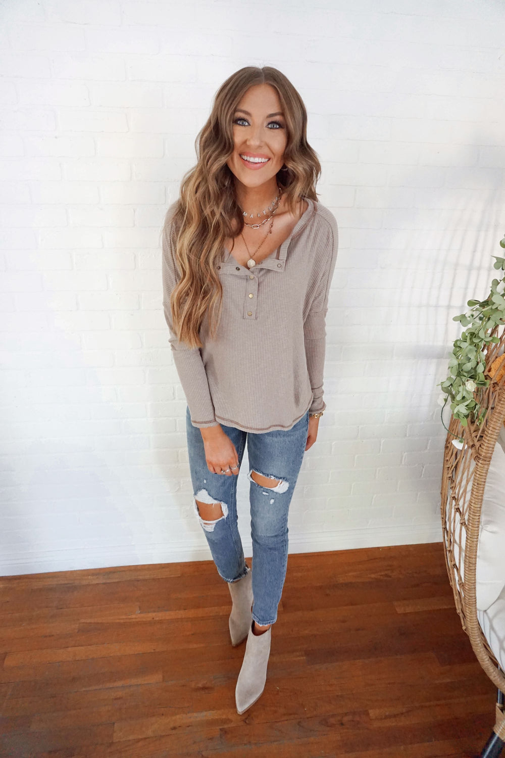 Mocha Henley Inspired by Makenna Christine