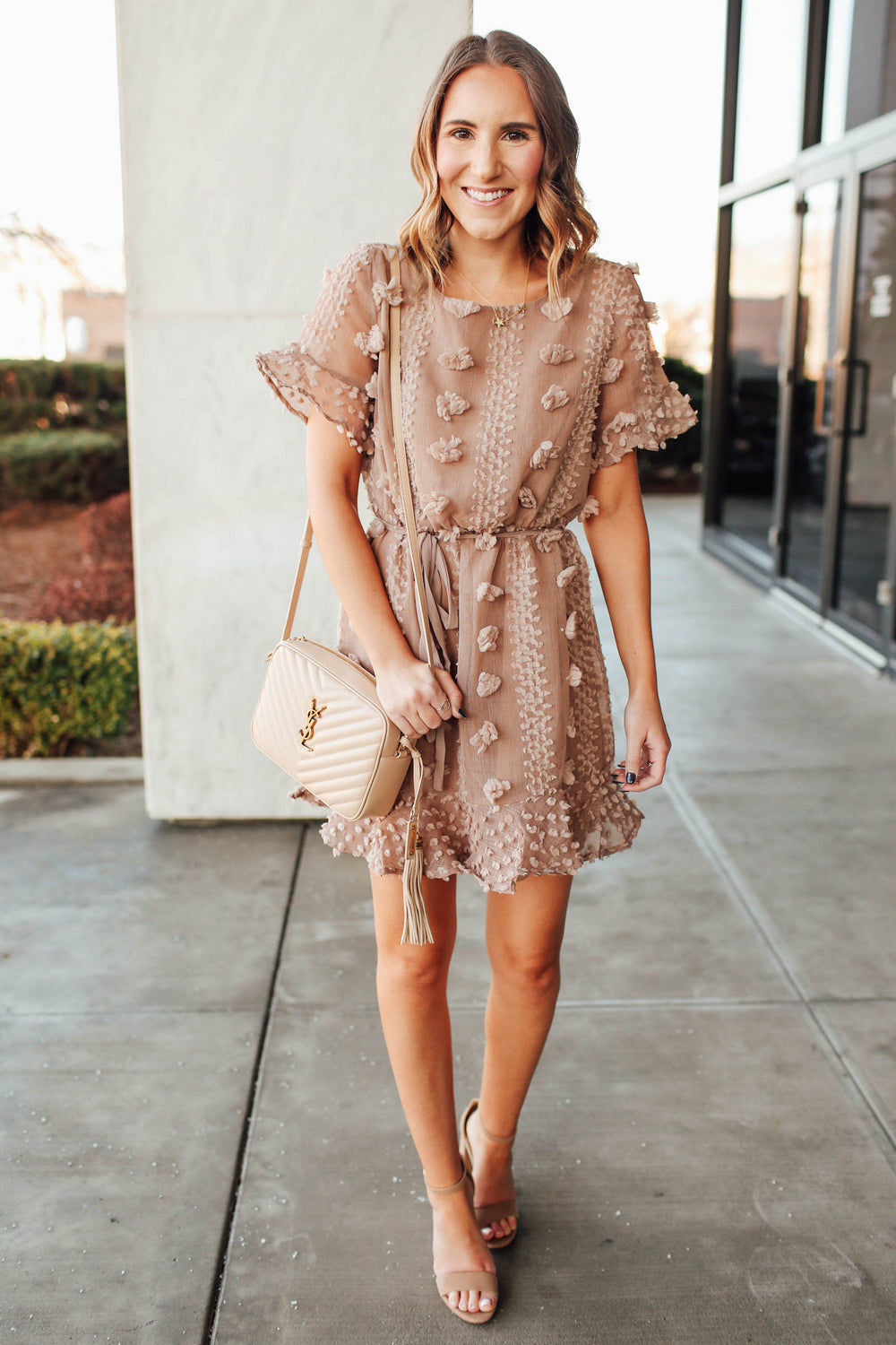 Mocha Pom Pom Dress Inspired By Ashley from Twenties Girl Style