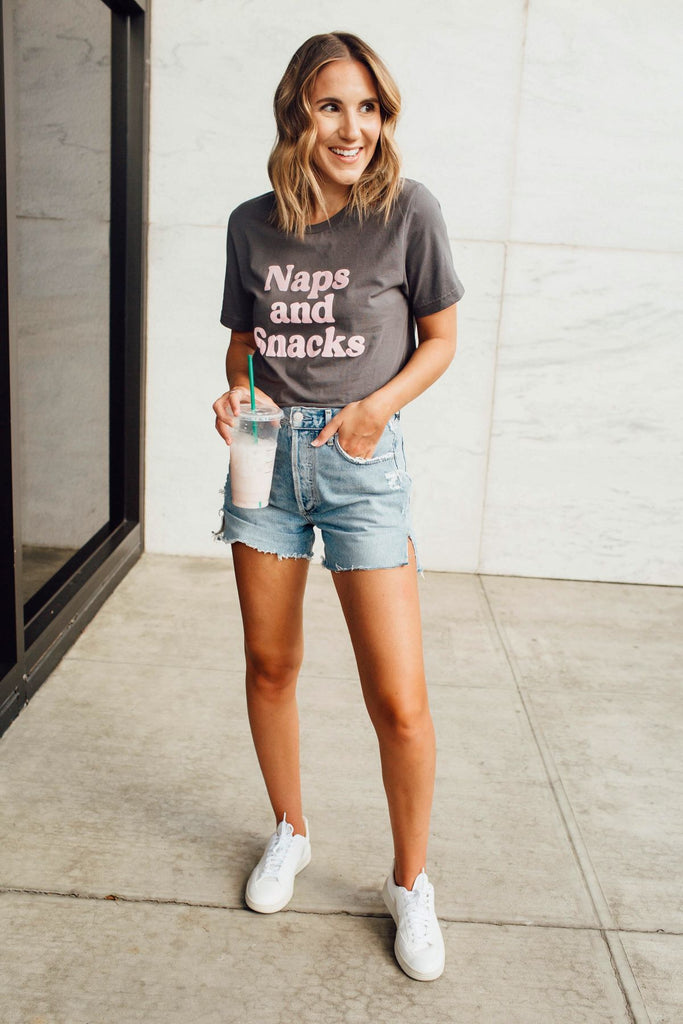 Naps and Snacks Cropped Tee Inspired by Ashley from Twenties Girl Style