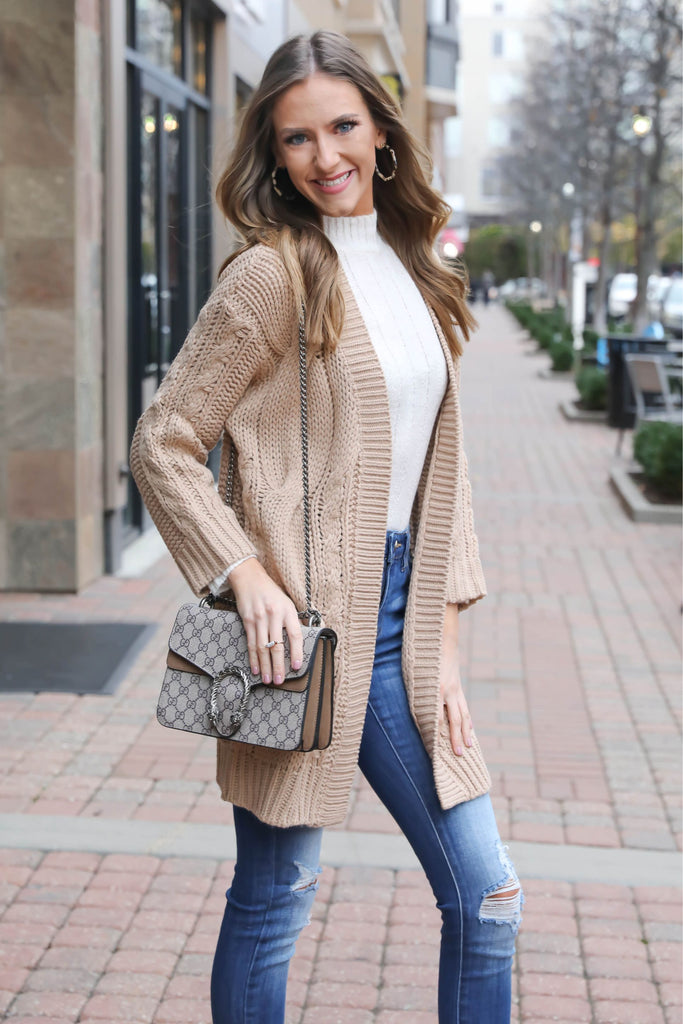 Not Your Average Knit Tan Cardigan