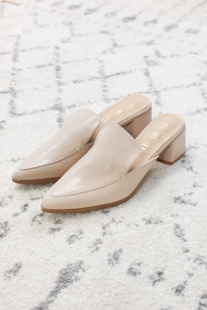 Nude Pointed Slide on Loafers Inspired by Amanda Johnson