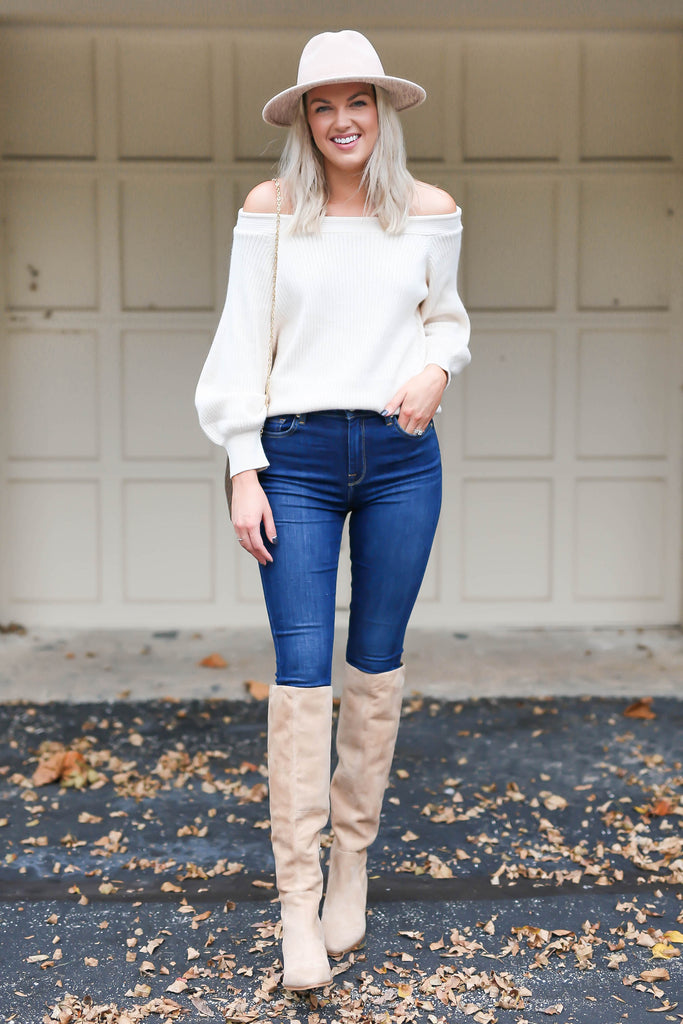 "Off the Shoulder Ivory Sweater ""Inspired by Shelby Ditch"""