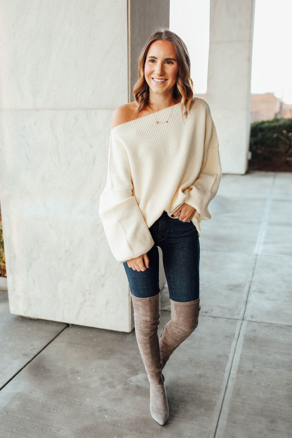 On My List White Oversized Sweater Inspired By Ashley from Twenties Girl Style