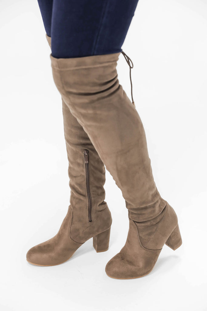 Overjoyed Over the Knee Boots Tan