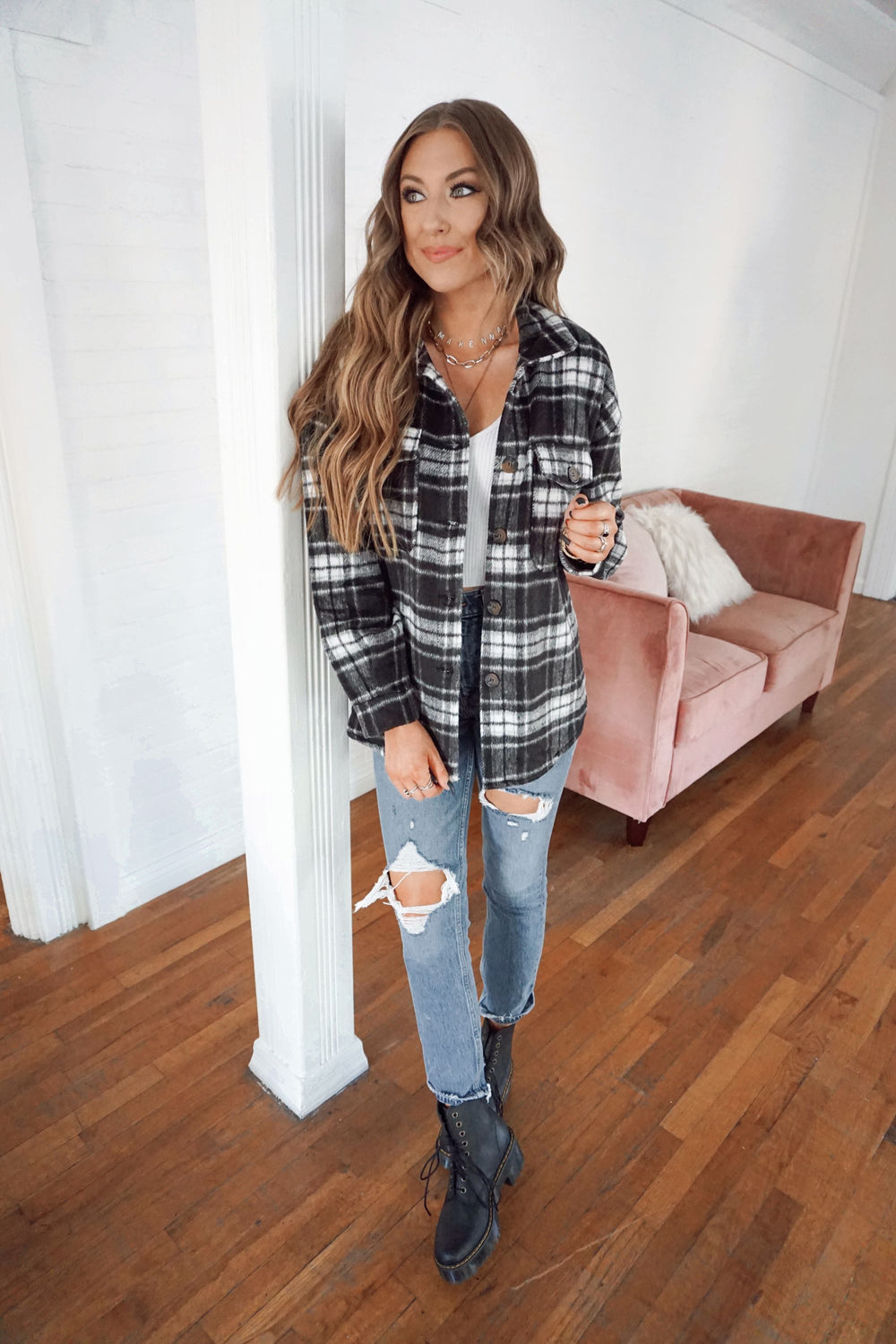 Oversized Campfire Flannel - Black Inspired by Makenna Christine